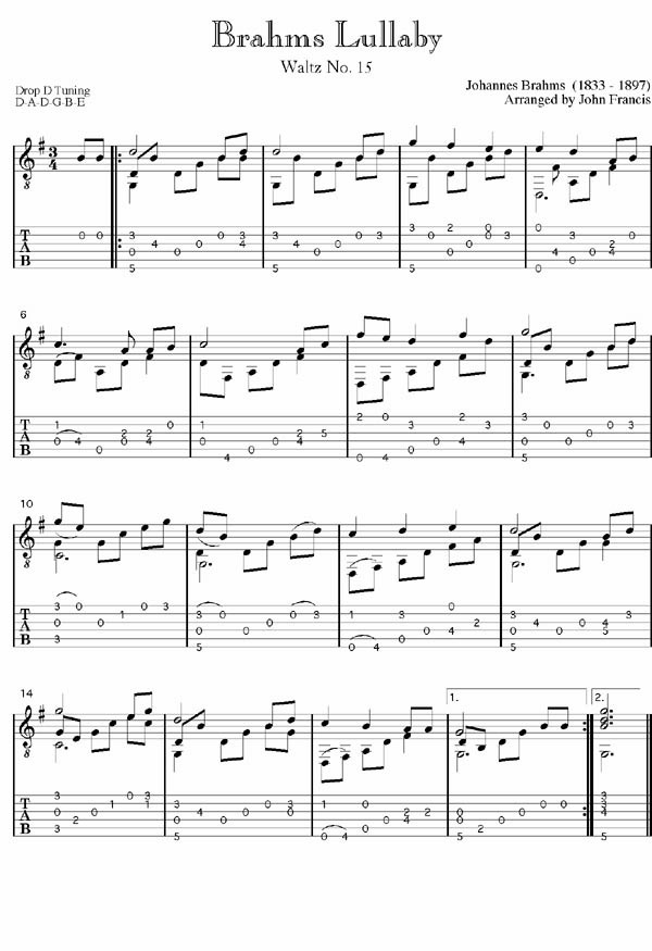 Johannes Brahms Guitar Arrangements Lullaby Tab Dances Bio