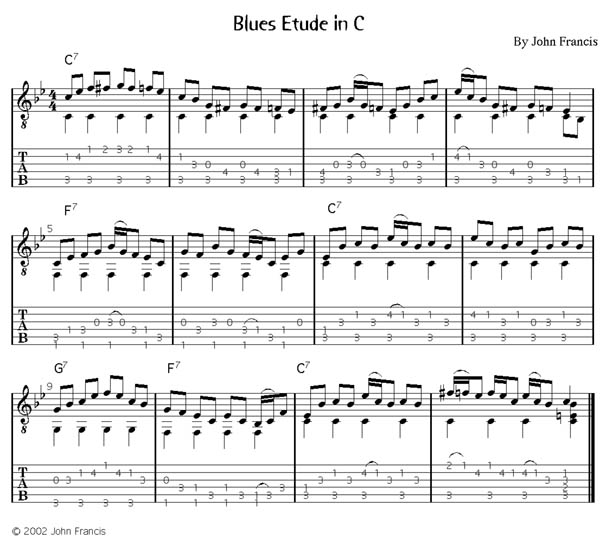 Lessons in the Blues, Solo Guitar score with tab